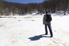 Viandante sulla traccia di montagna Fotografie Stock