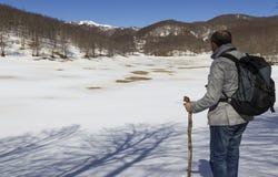 Viandante sulla traccia di montagna Immagine Stock Libera da Diritti