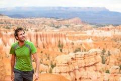 Viandante - uomo che fa un'escursione in Bryce Canyon Fotografia Stock