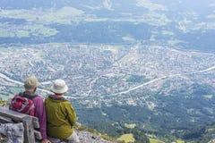 Viandanti alla montagna di Norkette, Innsbruck, Austria Fotografie Stock Libere da Diritti