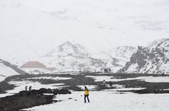 Viandanti a Cotopaxi, Ecuador, la seconda più alta sommità nell'Ecuador Fotografie Stock