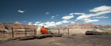 Viandanti delle coppie che godono della vista in Grand Canyon Immagini Stock
