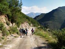Viandanti su una pista della montagna Fotografie Stock Libere da Diritti