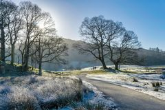 Viandanti sulla mattina gelida in Langdale Fotografia Stock Libera da Diritti