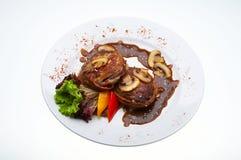 Viande avec des champignons de couche Photos libres de droits