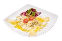 Viande avec l'oeuf et la salade Images libres de droits
