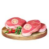 Viande crue fraîche avec l'os d'un plat illustration stock