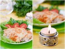 Viande cuite au four avec des champignons Photos stock