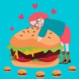 Viande délicieuse d'amant de junknfood d'hamburger d'amour savoureuse Image libre de droits