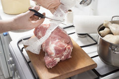 Viande d'emballage dans un filet de saucisse Image stock