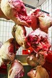 Viande dans un bâtiment de stockage réfrigéré Photographie stock libre de droits
