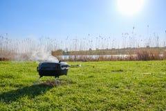 Viande de BBQ d'herbe d'été de gril, boeuf images libres de droits