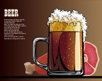 Viande de bière et des fruits de mer sur la table Photos stock
