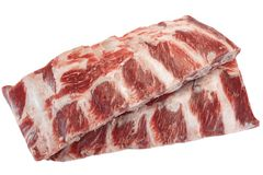 Viande de boeuf Angus Marbled Beef Ribs Isolated noir cru Photos libres de droits