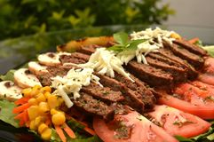 Viande de boeuf servie sur une literie de salade image stock