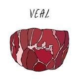 Viande de boeuf de veau Collection de marché de la viande Vecteur Eps10 Illustration réaliste de style tiré par la main de griffo illustration de vecteur