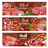 Viande de boucherie et bannières de vecteur de saucisses et assimilés illustration stock