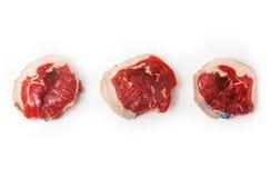 Viande de chèvre Noisettes dans une rangée Image libre de droits