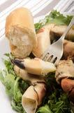 Viande de griffe de crabe sur une fourchette image stock