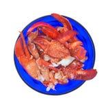 Viande de homard dans la cuvette bleue Photographie stock libre de droits