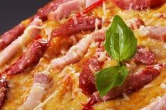 Viande de lard de salami de pizza Image libre de droits