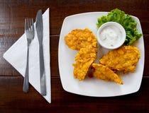 Viande de poulet frit Photos libres de droits