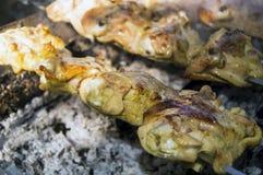Viande de poulet frit sur le gril photographie stock libre de droits