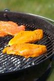 Viande de poulet sur un gril Photos libres de droits