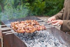 viande de rôti sur des brochettes sur le feu ouvert Photographie stock libre de droits
