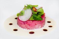 Viande de thon en sauce blanche Images stock