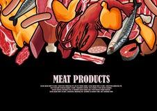 Viande dessinée sous forme de cadre Photographie stock libre de droits