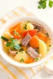 Viande et potage aux légumes Photographie stock libre de droits