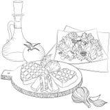 Viande et salade de schéma Photo stock