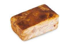 Viande et saucisses sur le backgroung blanc Images stock