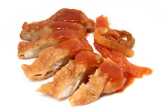 Viande frite et sauce coupée en tranches à raccord en caoutchouc Photographie stock libre de droits
