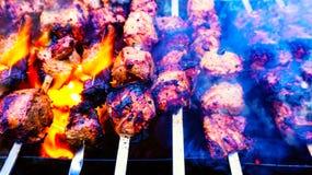Viande grillée Barbecue savoureux frais avec des légumes dans le brasero dehors image libre de droits