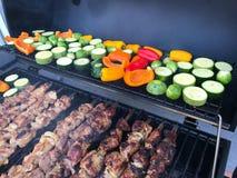Viande grillée délicieuse assortie avec des légumes sur un barbecue Images stock