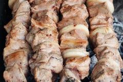 Viande grillée sur le gril sur la nature, sur les charbons chauds, fumée photo libre de droits