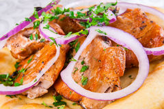 Viande grillée sur le pain pita Image stock
