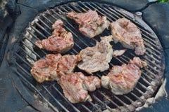 Viande grillée sur un gril extérieur Photos stock