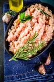 Viande hachée faite maison de poulet image libre de droits