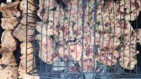 Viande juteuse de barbecue sur un gril en métal Mouvement lent clips vidéos