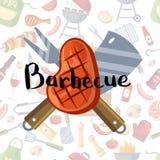 Viande, knive frits et fourchette avec le lettrage sur le fond d'éléments de barbecue ou de gril illustration stock