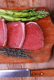 Viande principale de filet : boeuf cru sec Photos libres de droits