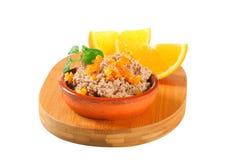 Viande répandue avec le succade orange Photos libres de droits
