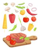 Viande servie à bord de l'illustration de vecteur d'ensemble d'icône illustration stock