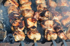 Viande sur le gril Images stock