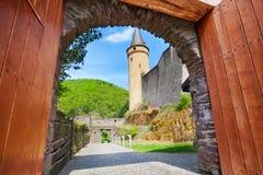 Vianden城堡门  免版税库存照片