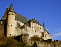 Vianden castle. Medieval castle on rocky hill in Luxembourg in small town Vianden Royalty Free Stock Image