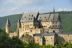 Vianden castle. The very old Vianden castle, situated in Luxembourg Europe Stock Images